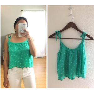 Hollister | Green Polka Dot Cropped Tie Tank Top